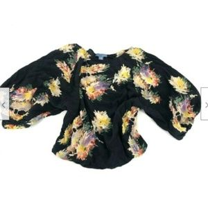 Lil Anthropologie Wide Sleeve Floral Top Blouse Ro